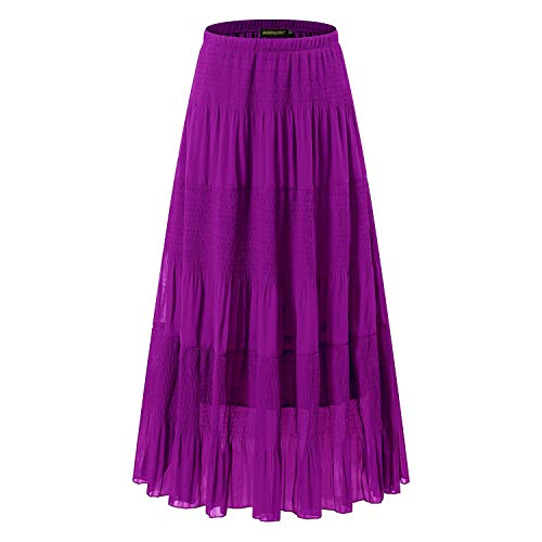 NASHALYLY Women's Chiffon Elastic High Waist Pleated A-Line Flared Maxi Skirts (4XL, Purple)