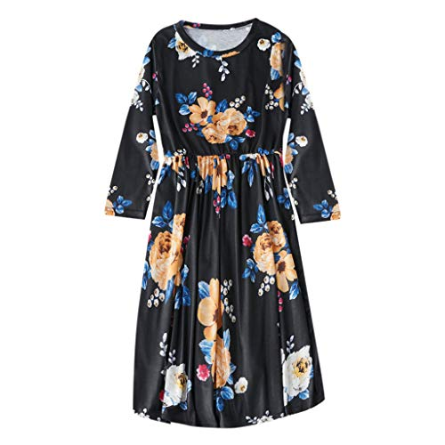 TEVEQ Mommy&Me Women's Long Sleeve Dress V-Neck Print Floral Family Clothes Dress