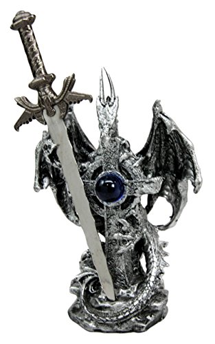 Atlantic Collectibles Legendary Silver Dragon With Onyx Crystal Heart and Excalibur Sword Letter Opener Figurine Sculpture