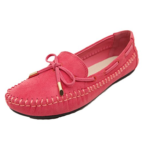 Women's Moccasin Red Loafer Slip Shoes on Bow Beauty D2C CgqHwU5U