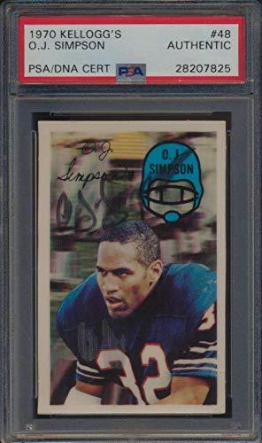 #48 O.J. Simpson HOF - 1970 Kellogg Football Cards Graded AUTO - Football Slabbed Autographed Cards (1970 Football Kelloggs)