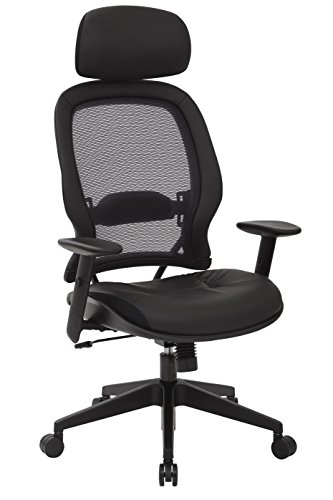 SPACE Seating Professional AirGrid Dark Back and Padded Black Eco Leather Seat, 2-to-1 Synchro Tilt Control, Adjustable Arms and Tilt Tension with Nylon Base Executives Chair with Adjustable Headrest ()