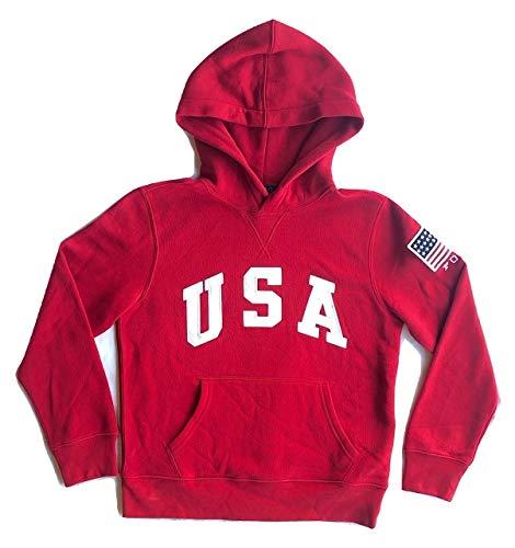 RALPH LAUREN Kid's Polo USA Flag Fleece Hoodie Pullover (Small (8), Red) ()