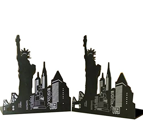Winterworm One Pair Fashion Modern European American Architecture Landmark Theme Style Thickening Iron Library School Metal Bookends Book End Perfect Mother's Day Gift (New York Statue Of - Fashion Modern European