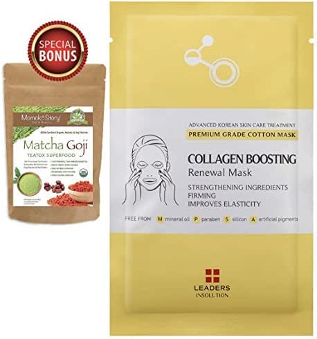 Leaders Collagen Boosting Renewal Medical Grade Treatment Mask | Anti-Aging & Lifting | Premium Collection with Concentrated Serum | Professional Remedy 10 Sheets -Momoko Story
