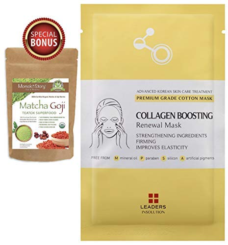 Leaders Collagen Boosting Renewal Medical Grade Treatment Mask | Anti-Aging & Lifting | Premium Collection with Concentrated Serum | Professional Remedy 10 Sheets -Momoko Story - Lifting Mask Aging Anti Treatment