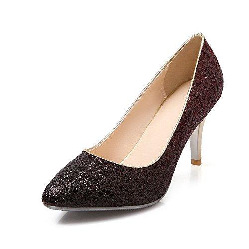 Amoonyfashion Womens Sequinss Assorti Kleur Pull-on Puntige Dichte Neus Hoge Hakken Pumps-schoenen Claret