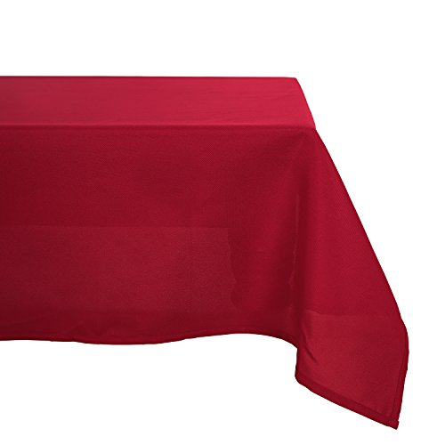 Deconovo Wrinkle Resistant Solid Oxford Rectangular Tablecloth for Party 60 x 84 Inch Red