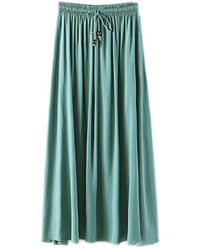 Jupes Femme Longue Haute Taille Casual Pliss Maxi Jupe de Plage Herbe Vert