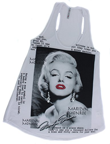 Forever Stars Women's Marilyn Monroe Image Bejeweled White Tank Top, (Bejeweled Tank)