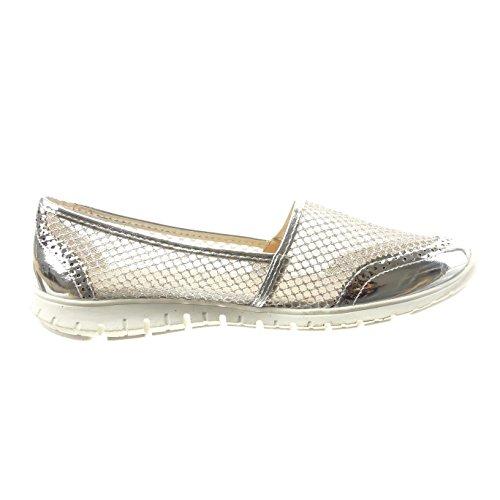 Da Prata Perfurado Brilhante Sapato Sopily on Sapatilha Da Mulheres Das Slip Moda Arrastão Sapatos Bailarina UgwqOX