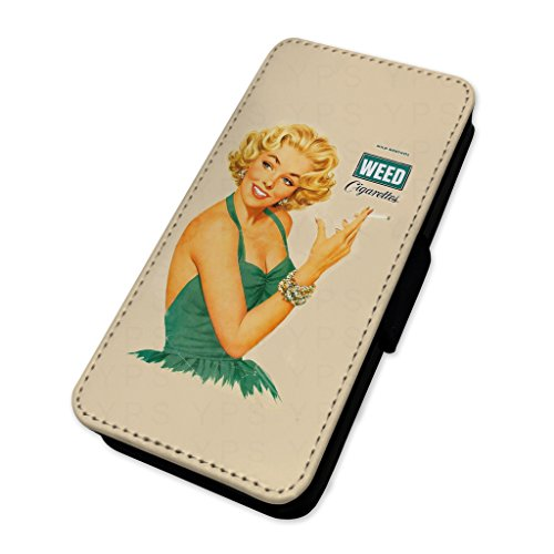 Retro Weed Girl smoking–sexy pin Up Girl–Custodia ad aletta in pelle cover Apple Iphone 8 Plus