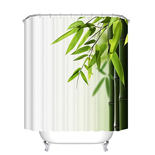 Fangkun Shower Curtain Bamboo and leaves Printed Pattern - Waterproof Mildew resistant - Polyester Fabric Bath Curtains Decor Set - 12pcs Shower Hooks -Green White (YL088#, 72 x 72 inches)