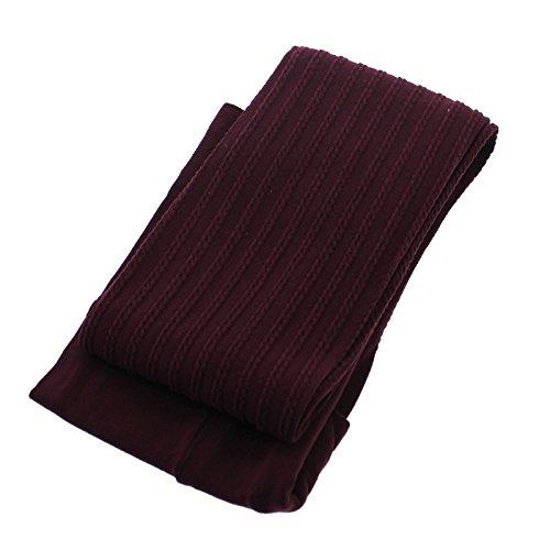 Stripe Hosiery Sexy Tights (MMRM Women Girls Warm Thick Stripe Stockings Tights Pantyhose Autumn Winter Hosiery - Wine Red)