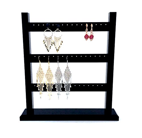 High Grade Shinny Acrylic Earring Display Holder Organizer Jewelry Three Tier Modern Fine Exhibition Stands 48 Holes - Glasses Frames Swedish