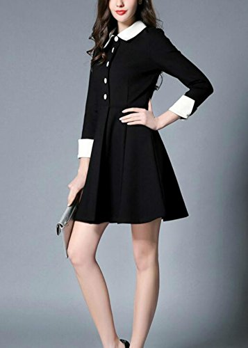 for Women Fashion Long Sleeve Allonly Black White Slim Bottom Dresses Leisure S0xd8Hn