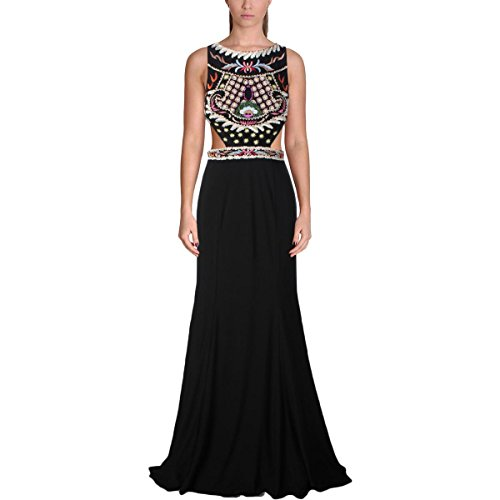 Jovani Cut-Out Embroidered Formal Dress Black (Embroidered Cut Out Dress)