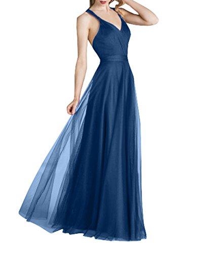 Ballkleider Blau Abendkleider Brautjungfernkleider Tuell La Lang Elegant Abschlussballkleider Festlichkleider Brau Linie mia Dunkel Rock A AXUAq06