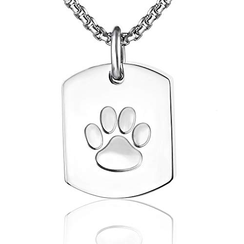 Cremation Jewelry for Ashes Urn Necklace Memorial Ash Necklace Keepsake for Human/Pet (Paw Print Dog Tag)