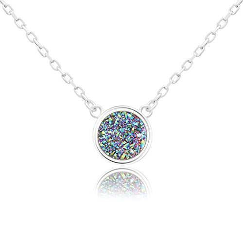 - KristLand - 925 Silver Necklace Simple Style Natural Druzy Round Rainbow Stone Pendant Adjustable Chain Green Colorful Color