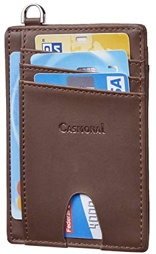 Casmonal Slim Minimalist Front Pocket Wallets RFID Blocking Credit Card Holder for Men & Women (Crazy Horse Brown Classic)