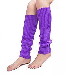 Unisex Thigh High Stretch Knit Leg Warmers Ribbed Knit Dance Sports Leg Warmers (Purple)