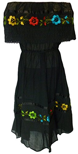 2875d0c2f7ab8 Women's Puebla Crochet Mexican Embroidered Dress - Black - Delocus Store