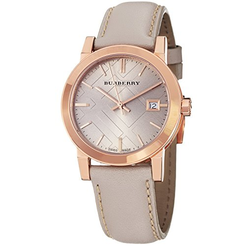- Burberry LUXURY RARE Rose Gold Watch Womens Unisex Men The City Beige Authentic Leather Beige Dial Date BU9109