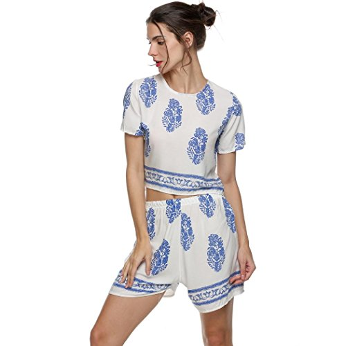 SFY Women Casual Print Short Sleeve Crop Tops Elastic Waist Shorts Two Piece Set