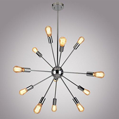 DAKYUE 12 Lights Carcanet Light Sputnik Chandelier Chrome Finished Modern Light Fixture