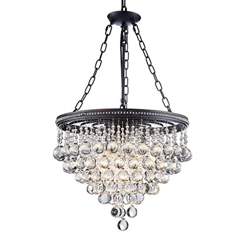 Saint Mossi Modern K9 Crystal Raindrop Chandelier Lighting Flush mount LED Ceiling Light Fixture Pendant Lamp for Dining Room Bathroom Bedroom Livingroom 6 E12 Bulbs Required H45 X D18
