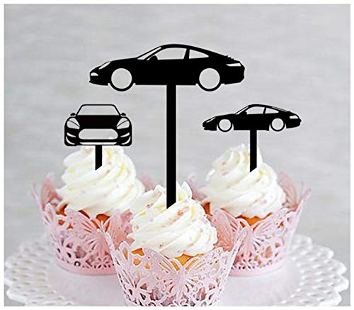 Decoration,Cupcake topper,Wedding,Birthday,Party,Shop,vintage classic,supers car,sports car, porsche 911 silhouette : 10 pcs