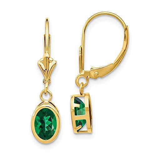(14K Yellow Gold 7x5mm Oval Mount St. Helens Leverback Earrings 7 mm 27 mm Drop & Dangle Earrings Jewelry )