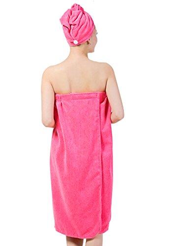 YAOSEN Women Spa Wrap Set Terry Bath Towel Absorbent Bathrobe with Hair Drying Hat (Red)