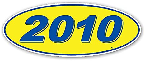 12 Per Pack Donkey Auto Products Oval Model Year Window Stickers Blue Numbers on Yellow 2017