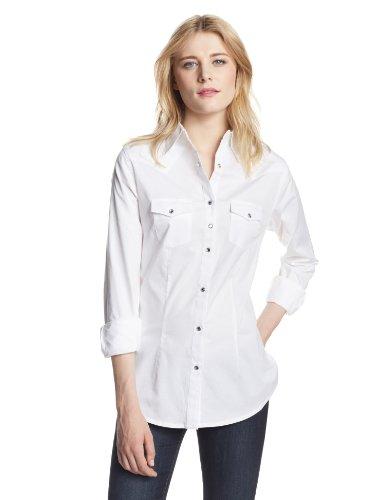 (Wrangler Women's Western Yoke Two Snap Flap Pocket Shirt, White, Medium)