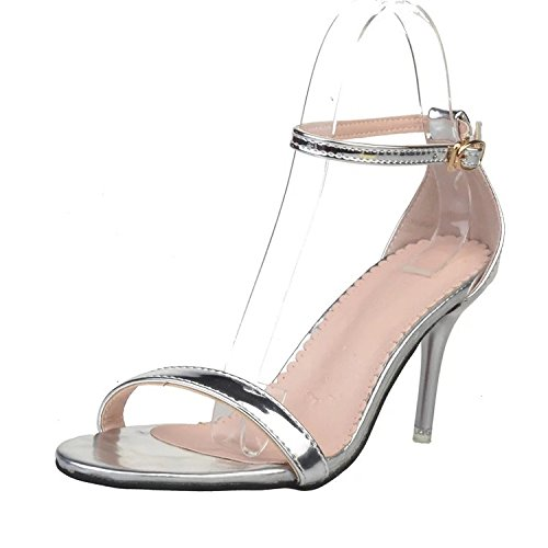 [T&Mates Womens Ankle Strap Open Toe Stiletto Mid High Heel Sandals for Party Wedding Dancing (8] (Traditional Russian Outfits)