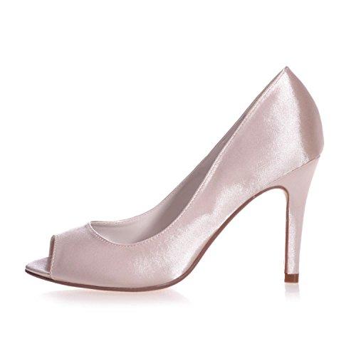 Toe Heels Outside Female 12 Bridal Platform 5623 Shoes Blue L Peeking High YC Silk Satin Out xXqwvtE6t