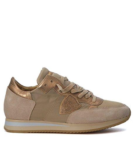 Philippe Model Dames Tropez Mondiaal Beige En Goud Sneakers Goud