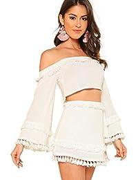 SheIn Women's 2 Piece Outfit Fringe Trim Crop Top Skirt Set