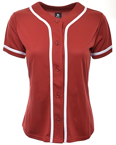 YoungLA Women Baseball Jersey Plain Button Down Shirt Tee 420 Red X-Large ()
