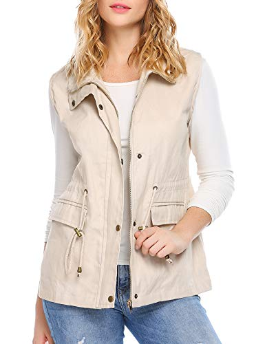 Beyove Women's Anorak Military Utility Jacket Vest w/Drawstring Pockets, Grey, L