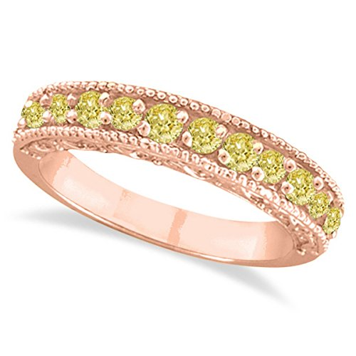 Fancy Yellow Canary Diamond Ring Band 14k Rose Gold (0.50ct) Canary Diamond Wedding Rings