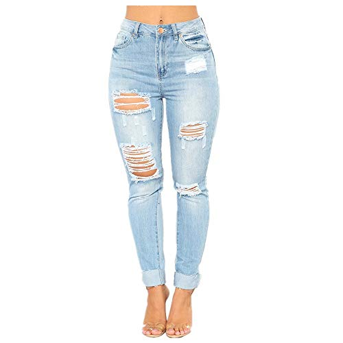 Jeans en coton avec trou au crayon pour femme (Color : Blue, Size : M) Blue