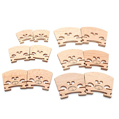 Timiy 6 Sets of 12 pcs Select Aged Violin Maple Bridge Fits for 1/6 1/8 1/4 1/2 3/4 4/4 Size Violin (Bridge For Violin)
