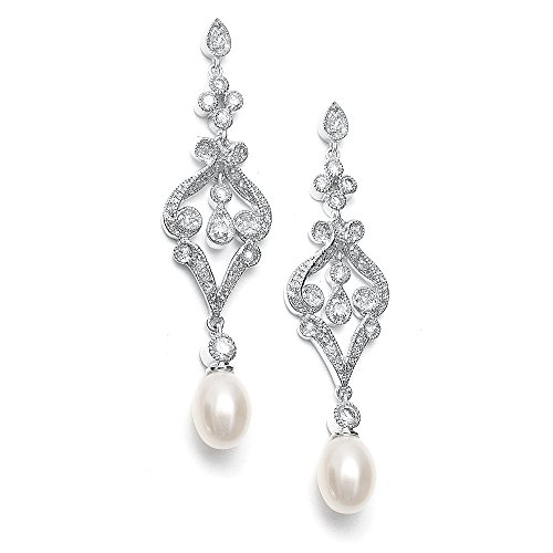 Freshwater Pearl Wedding Earrings (Mariell Vintage Cubic Zirconia Rhodium Scroll Bridal Earrings with Genuine Freshwater Pearl Drops)