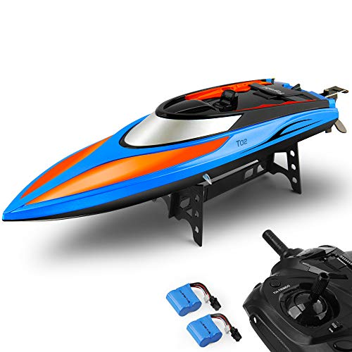 RC Boat Pool Toys High Speed (20MPH+) Remote Control Boat for Pools and Lakes 2.4GHz RC Racing Boats for Adults & Kids + Bonus Battery (Blue and Orange)