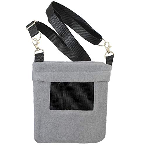 Exotic Nutrition Economy Carry Pouch (Grey) - Fleece Bonding Pouch - for Sugar Gliders, Marmosets, Squirrels, Degus, Hamsters, Other Small Animals