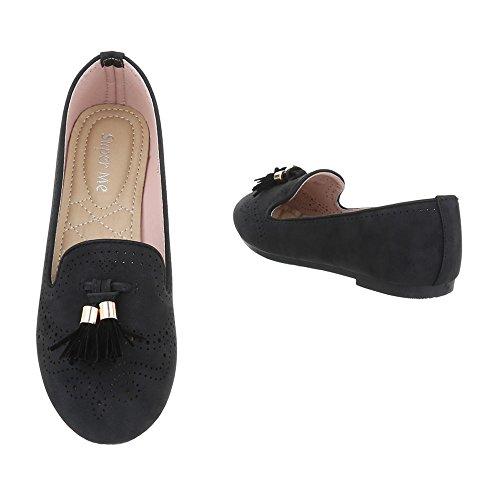 Ital-Design - Zapatillas de casa Mujer Schwarz K817