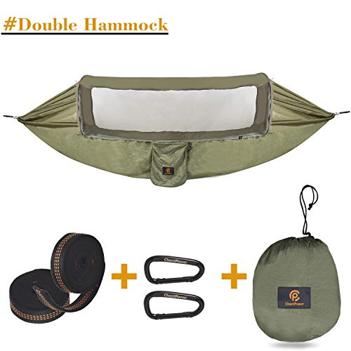 CHANTPOWER 3 in 1 Hammock with Mosquito Net and Sunscreen Cover, Outdoor Anti-Mosquito, Sunscreen Shelter for Hiking Backpacking Backyard (Army Green) -(L x W) 114